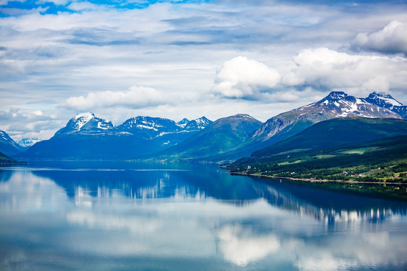 Ocean and mountains landscape